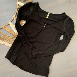 Free People Lace Sleeve Henley